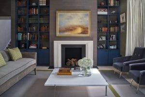 Bespoke blue bookcases