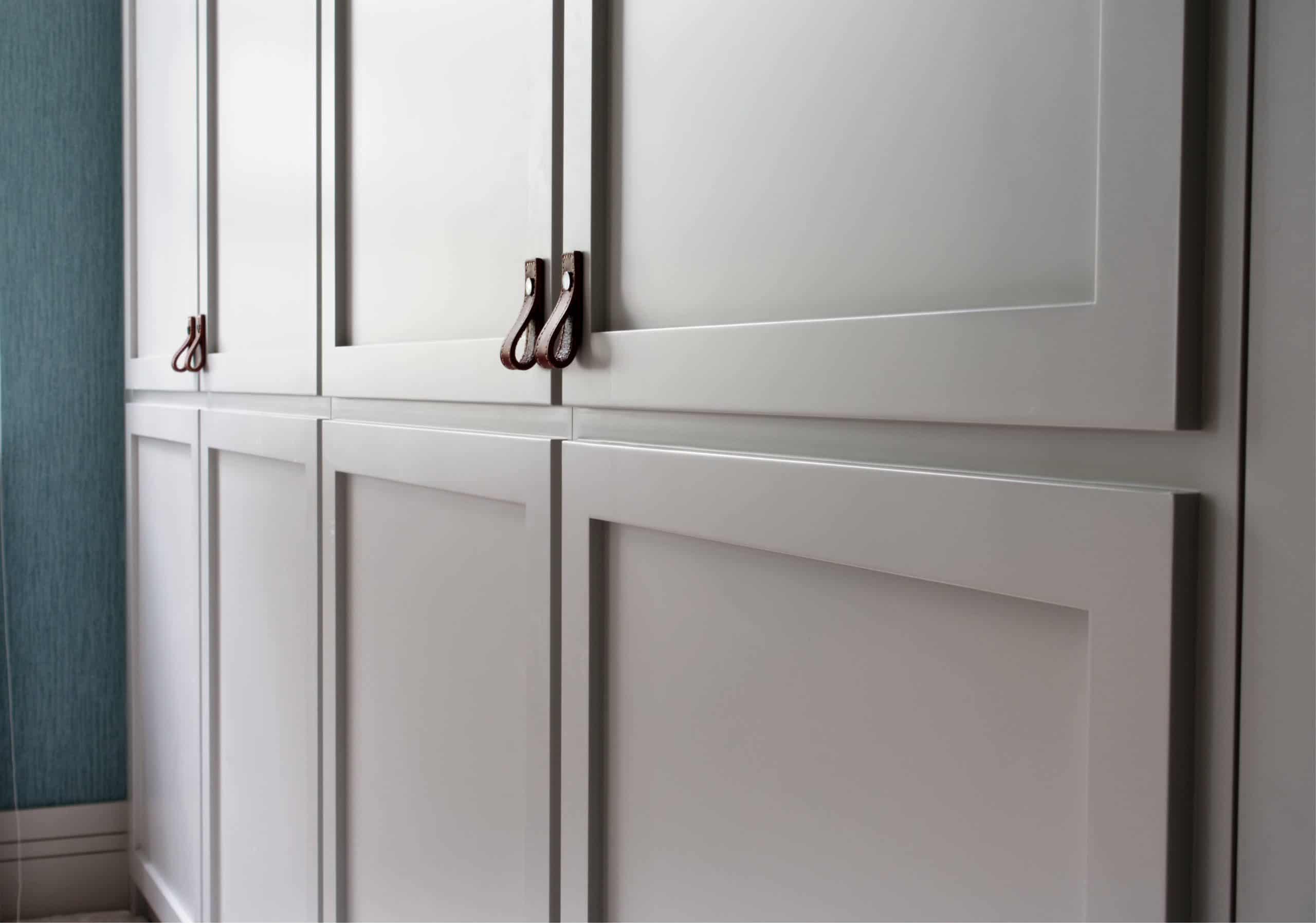 Leather pull wardrobe handles