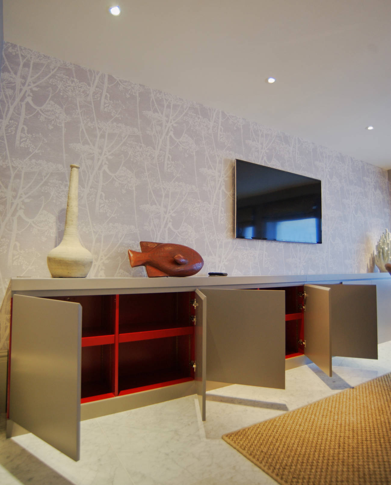 Bespoke sideboard red interior