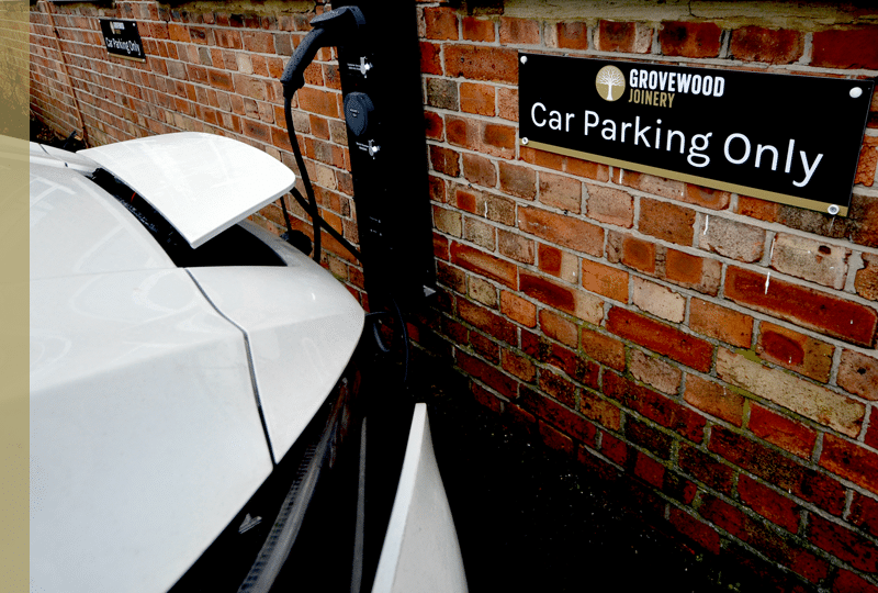 Car park with electric cars charging station - Grovewood Joinery
